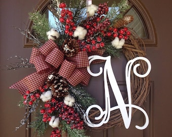 cotton christmas wreath with monogram farmhouse holiday wreath with initial rustic cotton grapevine winter wreath holiday decor - Christmas Garland Decorations Sale
