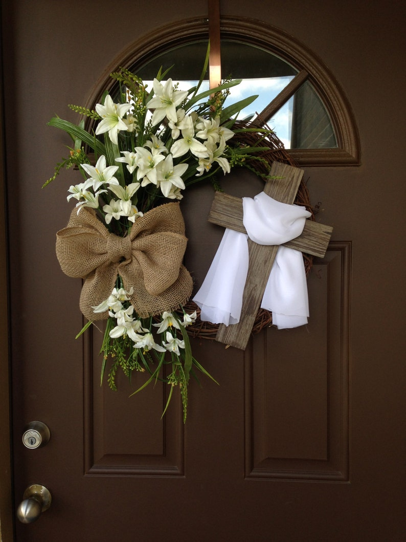 Easter Wreath with Cross  Rustic Grapevine Easter Wreath with image 0