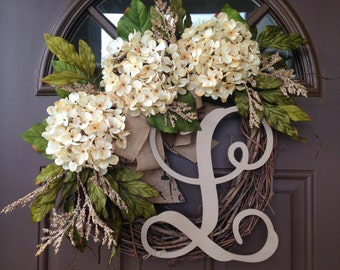 BEST SELLING Year Round Cream Hydrangea Wreath for Front Door - Grapevine Wreath with Burlap and Initial - Monogram Everyday Wreath