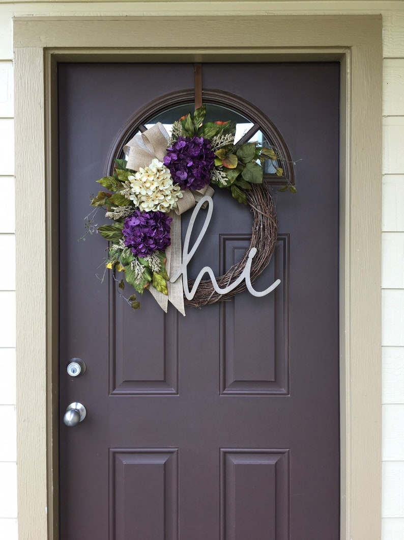 Rustic Decor Hi Hydrangea Wreath For Summer Wreath For Front Door Year Round With Monogram All