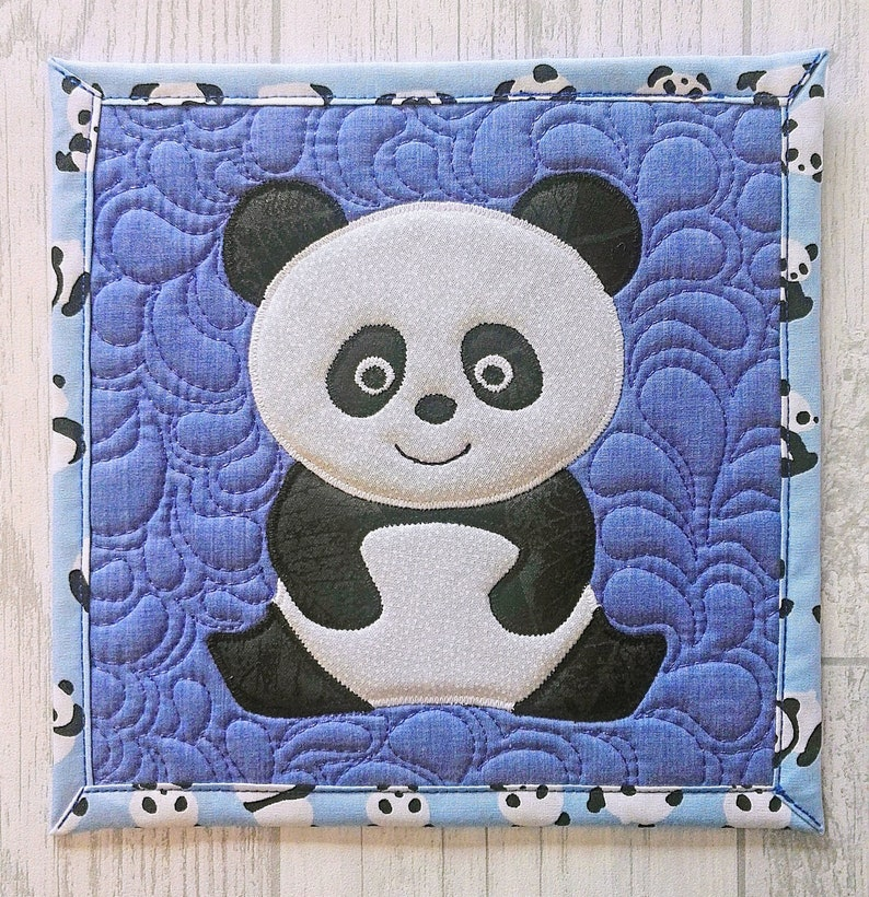 unique gift panda mug rug square quilted mug rug cute panda panda lover gifts Panda mug rug mother/'s day quirky gift