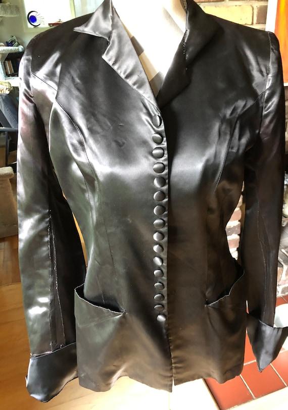 Beautiful 1920's Black Satin Jacket