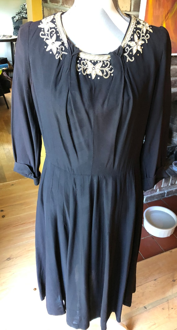 "Unique 1930/40's ""Gloria Swanson"" Black Dress"