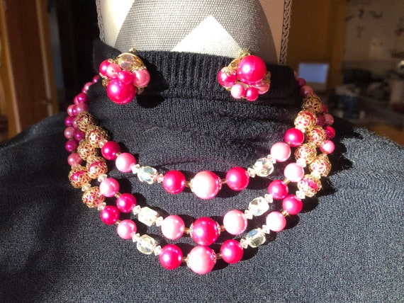60's Pink Plastic beaded Necklace and matching cl… - image 1