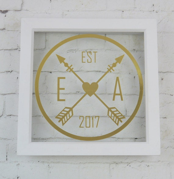 Heart & crossed arrows initial frame personalised white   Etsy