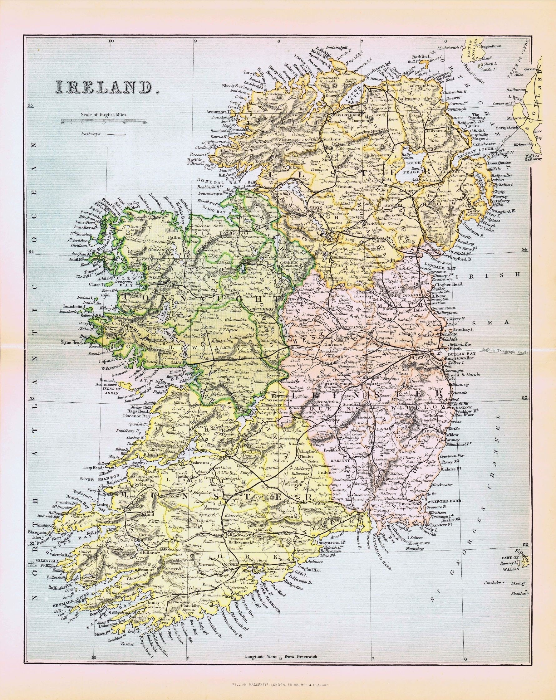 Full Map Of Ireland.1880 Antique Map Ireland Etsy