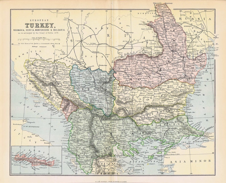 1880 Antique Map Turkish Empire In Europe Serbia Roumania Etsy