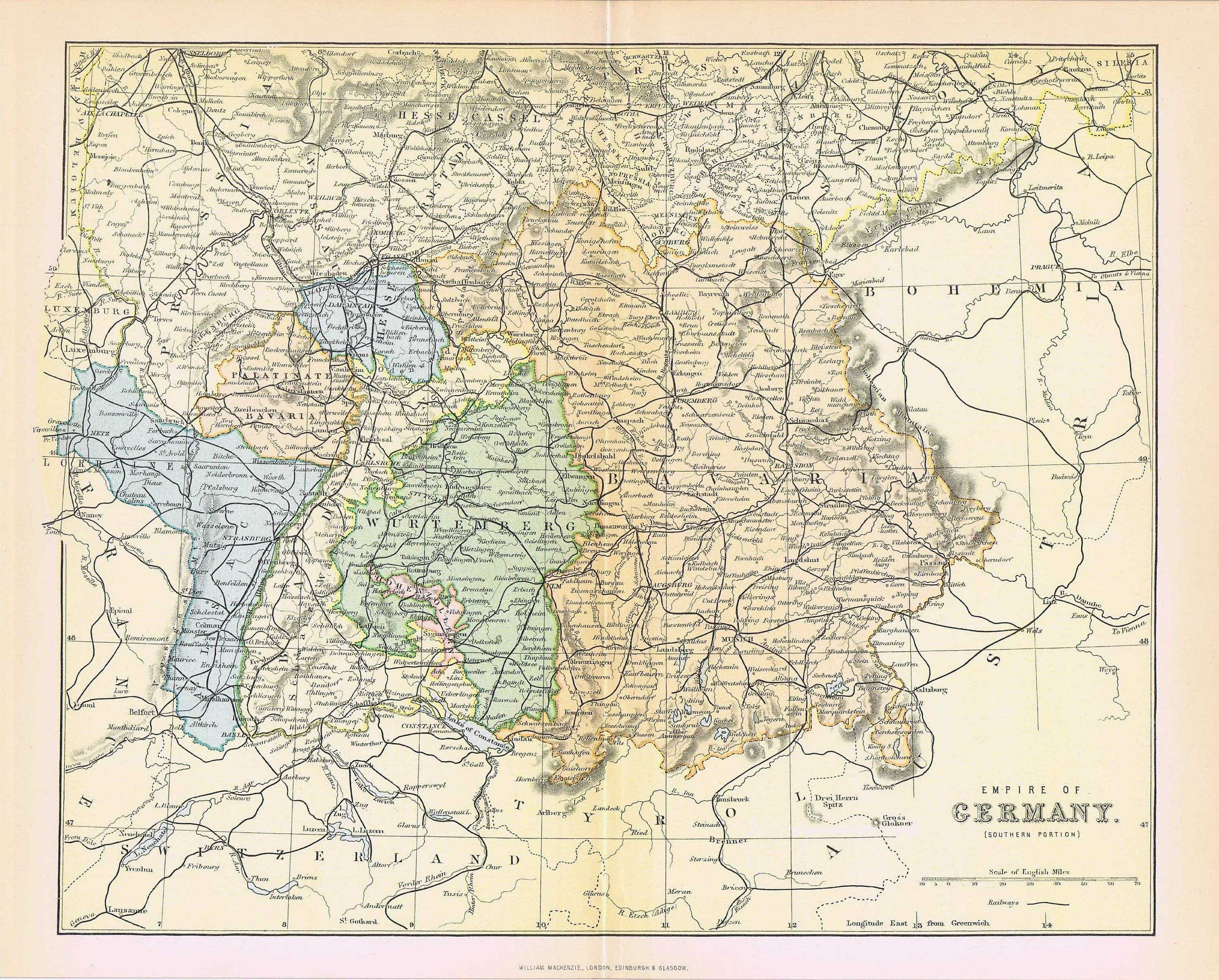 Map Of South Germany.1880 Antique Map Empire Of Germany South Bavaria