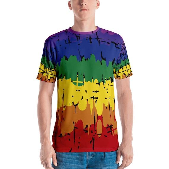 Gay Pride Rainbow T-shirt Men/'s T-shirt All Over Print Rainbow Shirt Ravers Gamers Surfers Skaters World Pride 2019 Christmas Birthday Gifts