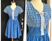 1980s plaid denim lace-up dress, 80s vintage Lira blue sundress casual day dress, size M L