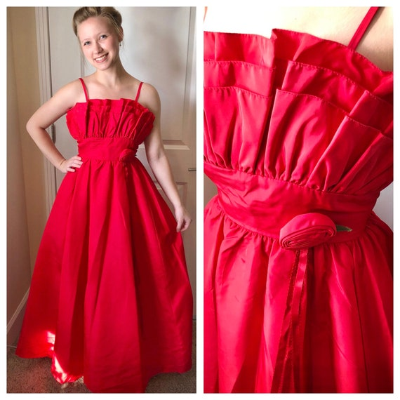 80s does 50s vintage red ballgown, 1980s/1950s, cr