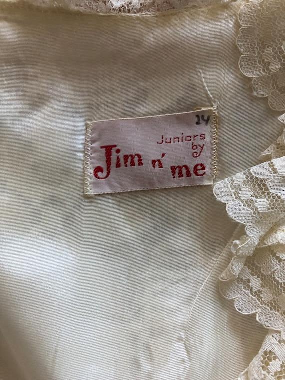 1960s white lace mini-dress, 60s vintage wedding … - image 8