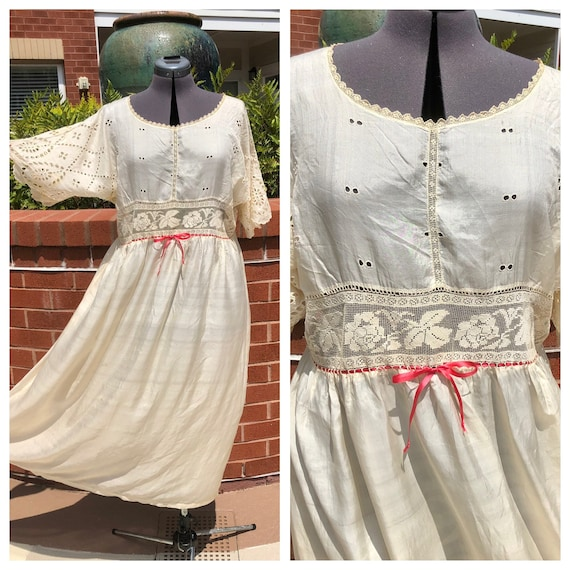 1900s Edwardian silk nightgown/chemise, Victorian