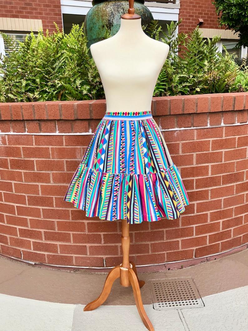 50s vintage peasant circle skirt 1950s Aztec print skirt size SM
