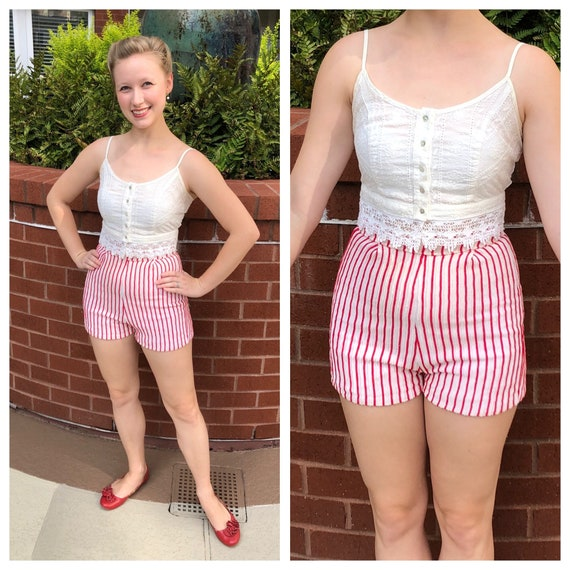 1950s red and white striped high waisted shorts, 5