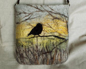 Bag shoulder Felted bag Crossbody bag fibre art  gift  leather