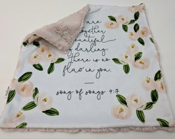 67262c672 Baptism Baby Girl Gift, Floral Lovey, Bible verse lovey, Minky Baby Lovey, Bible  Scripture Baby Lovey, Girl Baby Shower Gift Songs of Songs
