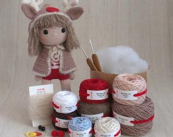 YesilTosbaa - ELLIE the Christmas Girl - DIY Crochet kit, amigurumi, Christmas Gift, Doll, Stuffed Animal, Crafter Gift, Reindeer Hoodies