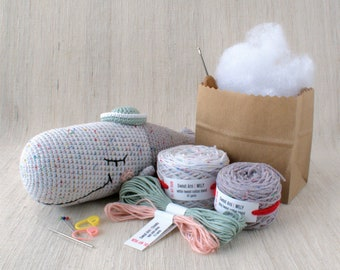 Sweet Amigurumi Design - WILLY the Whale - DIY Crochet kit, amigurumi, Christmas Gift, Doll, Stuffed Animal, Crafter Gift, Marine Life