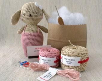 Sweet Amigurumi Design - BELLA the Bunny - DIY Crochet kit, amigurumi, Christmas Gift, Doll, Stuffed Animal, Crafter Gift, Rabbit