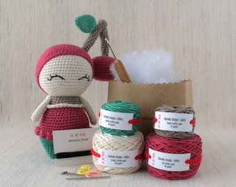 Sameko Design - KARLA the Cherry - DIY Crochet kit, amigurumi kit, Christmas Gift, Crochet Doll, Stuffed Animal, Crafter Gift