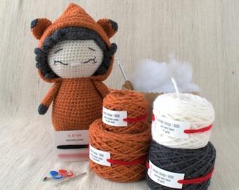 Sameko Design - IGRID the Fox - DIY Crochet kit, amigurumi kit, RECYCLED cotton yarn, Crochet Doll, Stuffed Animal, Crafter Gift