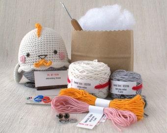 Sweet amigurumi design - BERTHA the Chic - DIY Crochet kit, amigurumi kit, Christmas Gift, Crochet Doll, Stuffed Animal, Chick, Chicken