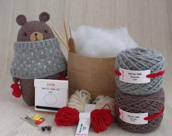 Sweet amigurumi design - BRUNO the Bear - DIY Crochet kit, amigurumi kit, Christmas Gift, Crochet Doll, Stuffed Animal, Brown Bear