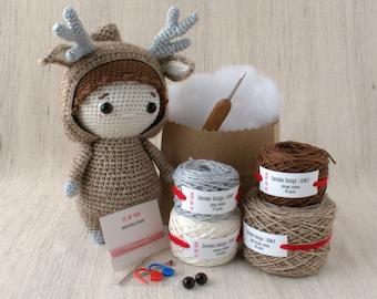 Sameko Design - RENLY the Deer - DIY Crochet kit, amigurumi kit, Christmas Gift, Crochet Doll, Stuffed Animal, Crafter Gift