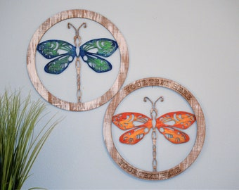Dragonfly Door Hanger Monogram Wreath or Wall Art, 2 Color Choices, Personalized and Hand-painted, Laser Cut