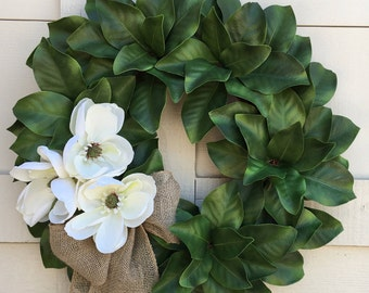 Magnolia wreath,Wedding wreath,Farmhouse wreath,Farm style wreath,Summer wreath,Magnolia flowers,Magnolia,Green wreath,Every Day wreath