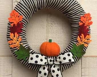 Fall Wreath,Unique Fall Wreath,Contemporary Fall Wreath,Fall Decor,Fall  Wreath For Front Door,Simple Fall Wreath,Fall Pumpkin Wreath,