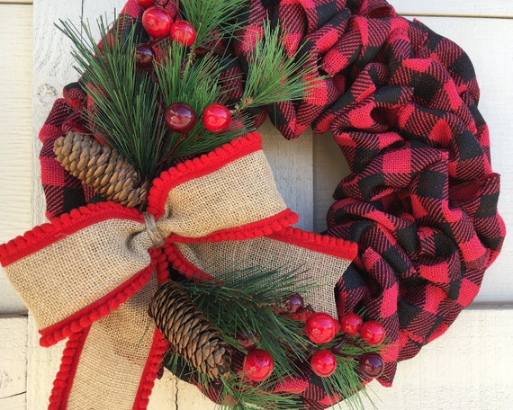 Christmas Wreath, Burlap Winter Wreath, Christmas Burlap Wreath, Winter Wreath, Buffalo Plaid Burlap Wreath, Christmas Wreath for Front DOor