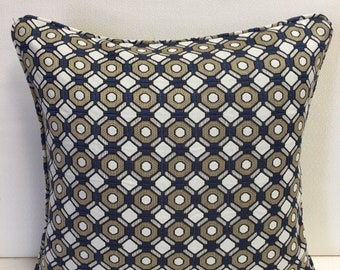 Kravet Blue Beige White Geometric Design Pillow Cover, Eurosham or Lumbar Pillow Accent Pillow, Throw Pillow
