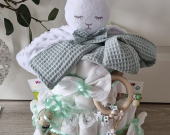 free greeting card on request cuddly toy cute bunny Diaper cake XXL pacifier chain /& grasping toy birth baptism baby shower gift