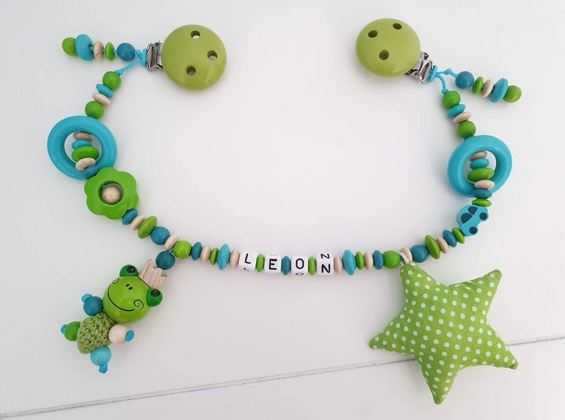 nature, turquoise, green Stroller chain for boys with desired names birth gift for baptism