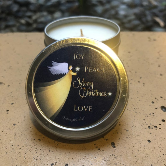 Silver Tin  Citrus Scent  With Gift Box Happy Holidays Candle with Cat  2 Oz