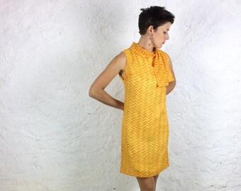 1960s Yellow and Orange Geometric Summer Italian Mini Dress