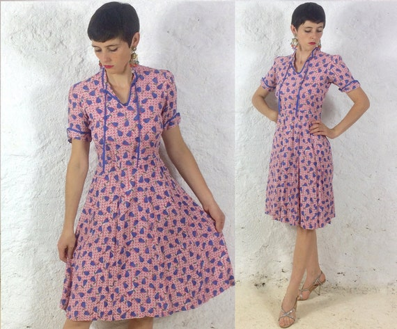 1940s Pink Floral handmade Crepe Day dress
