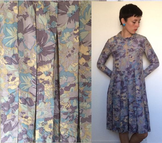 Purple Floral 1970s long sleeved pleated skirt dre