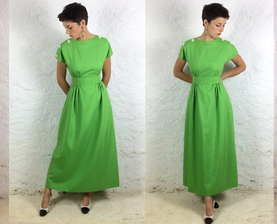 1970s Cotton Mix Handmade Lime green Maxi S - XS