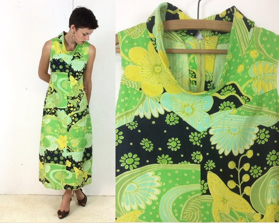 1970s Classic High Collar Lime Green Psychedelic M