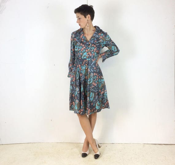 1970s Handmade Shirt dress Psychedelic print with… - image 2