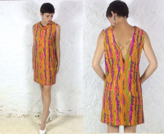 1960s Backless Shift style Psychedelic Mini dress