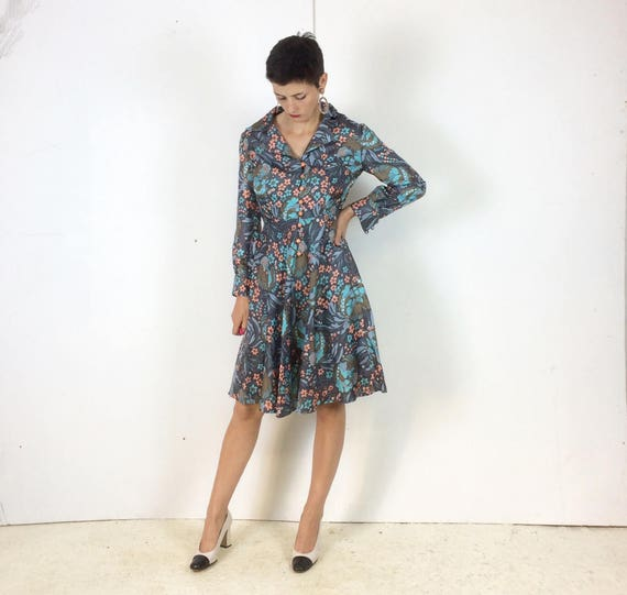 1970s Handmade Shirt dress Psychedelic print with… - image 3