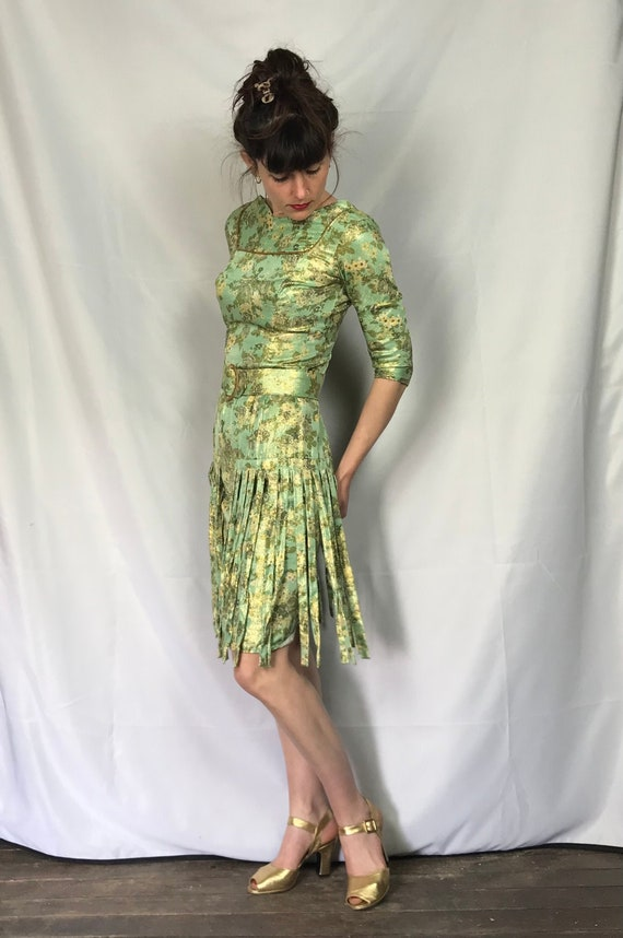 1960s Green and Gold lame Evening dress