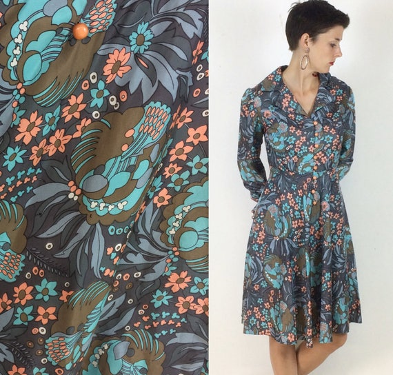 1970s Handmade Shirt dress Psychedelic print with… - image 1
