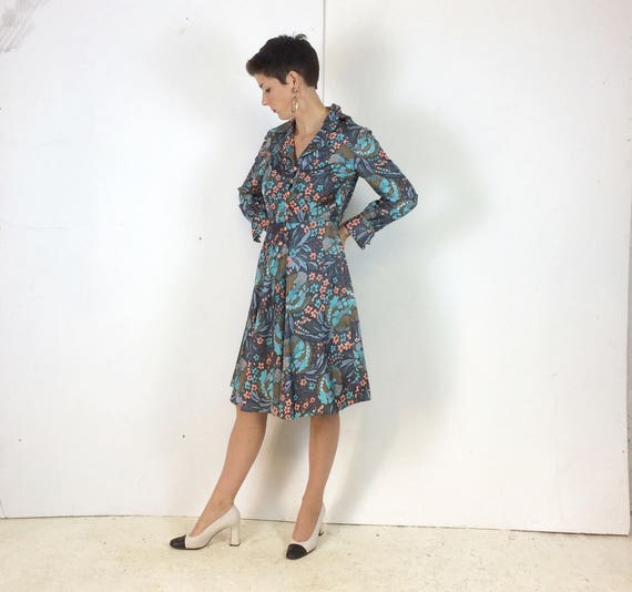 1970s Handmade Shirt dress Psychedelic print with… - image 5