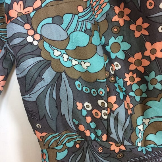 1970s Handmade Shirt dress Psychedelic print with… - image 9