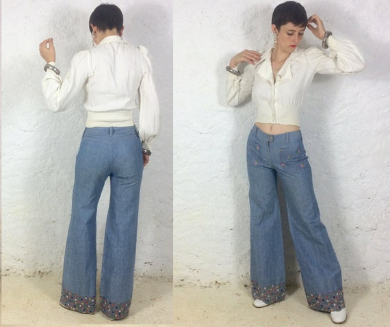 1970s High Waisted Flared jeans palazzo pants Wide